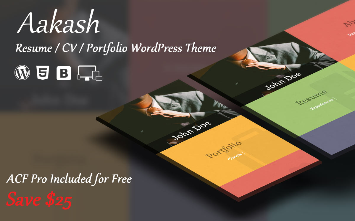 Wordpress Theme Now Available For Aakash  Resume  Portfolio Html